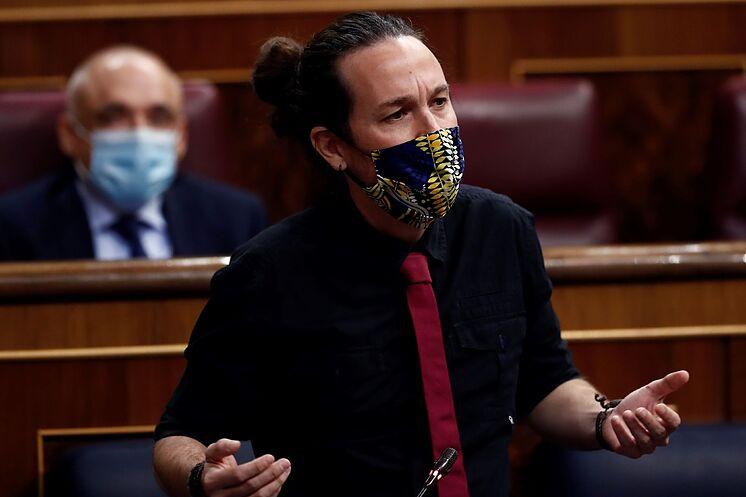 Le deuxième vice-président du gouvernement, Pablo Iglesias, pendant la ...