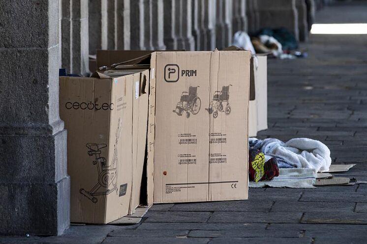 Les sans-abri sur la Plaza Mayor de Madrid.