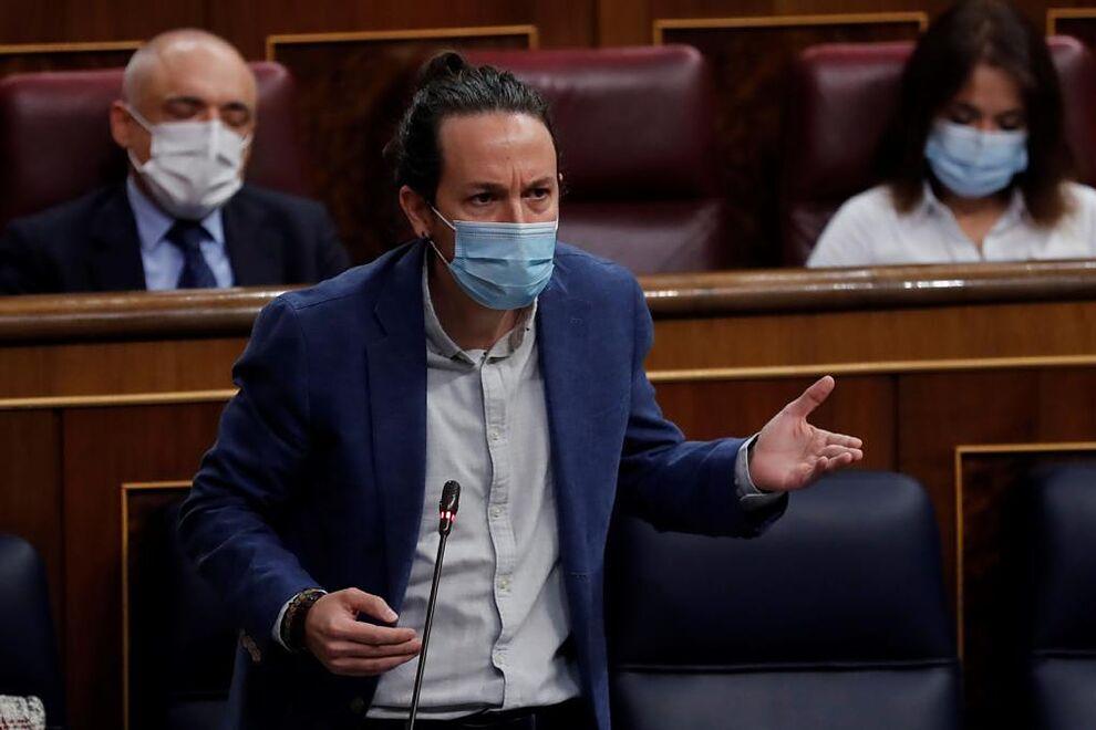 Le deuxième vice-président du gouvernement, Pablo Iglesias, intervient dans ...