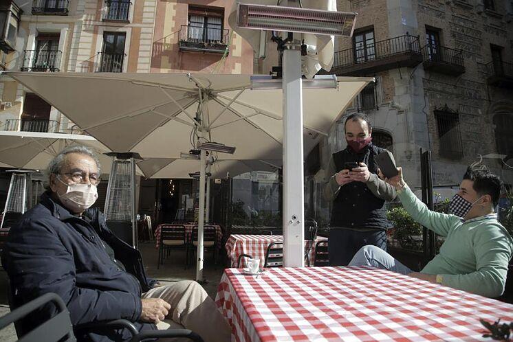 Une terrasse dans un restaurant à Tolède.