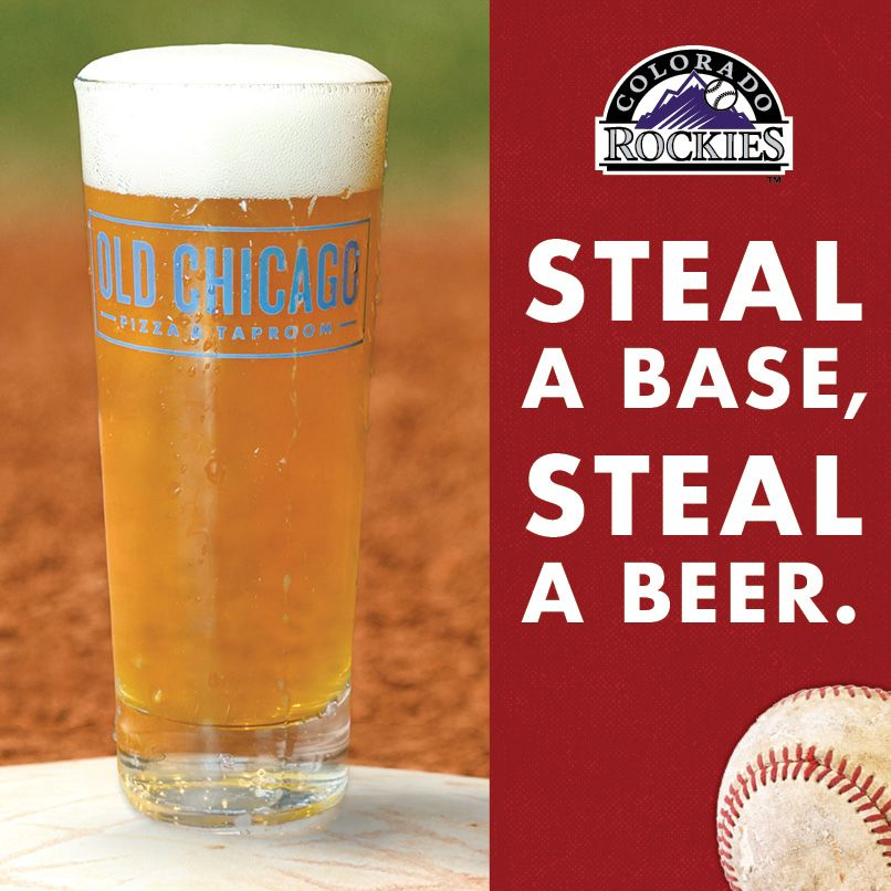 Old Chicago Pizza & Taproom sponsorise les Rocheuses du Colorado avec la promotion `` Voler une base, voler une bière ''