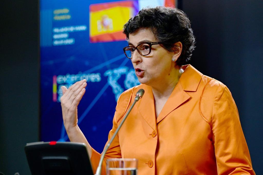 Arancha Gonzalez Laya, ce vendredi, lors d'une conférence de presse au Foreign Office.