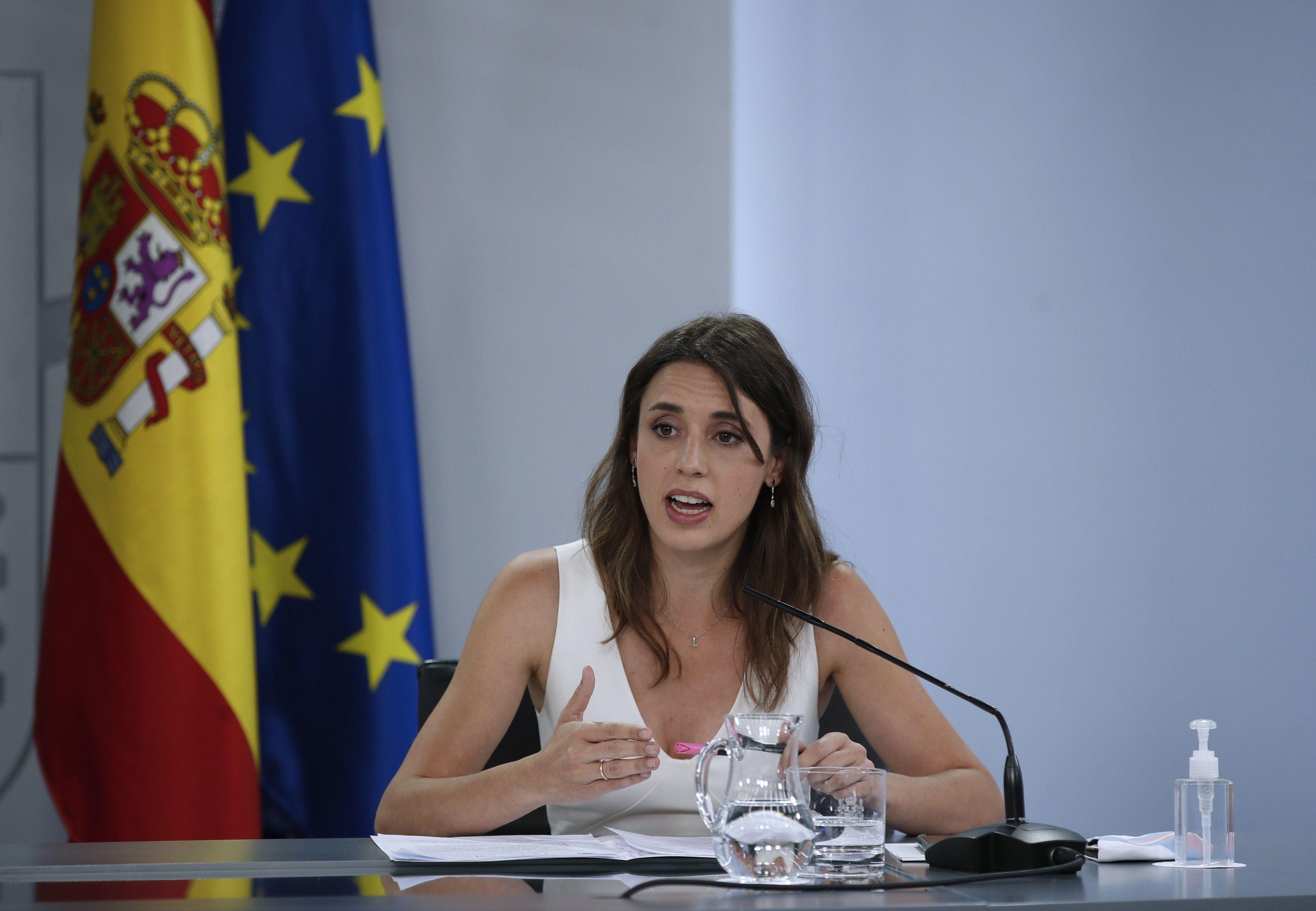 La ministre de l'Égalité, Irene Montero, lors d'une récente apparition à Moncloa.