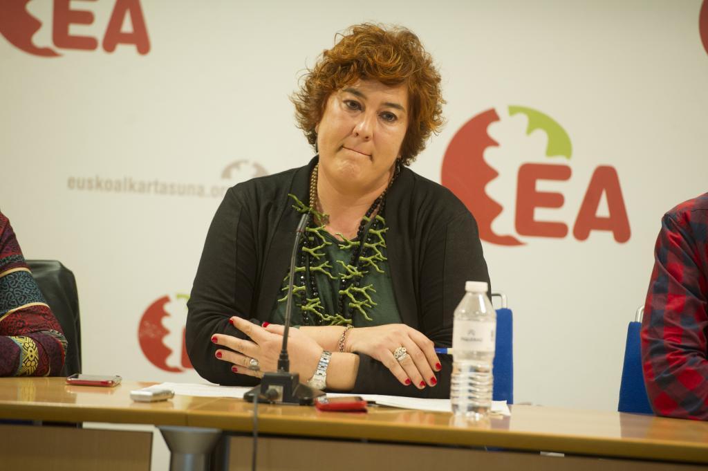 Le secrétaire général d'EA Eba Blanco lors d'une apparition au siège de Vitoria au milieu du processus des élections internes.