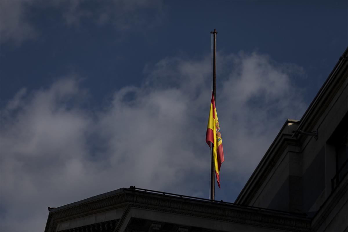 Le drapeau en berne au Congrès, en 2020.