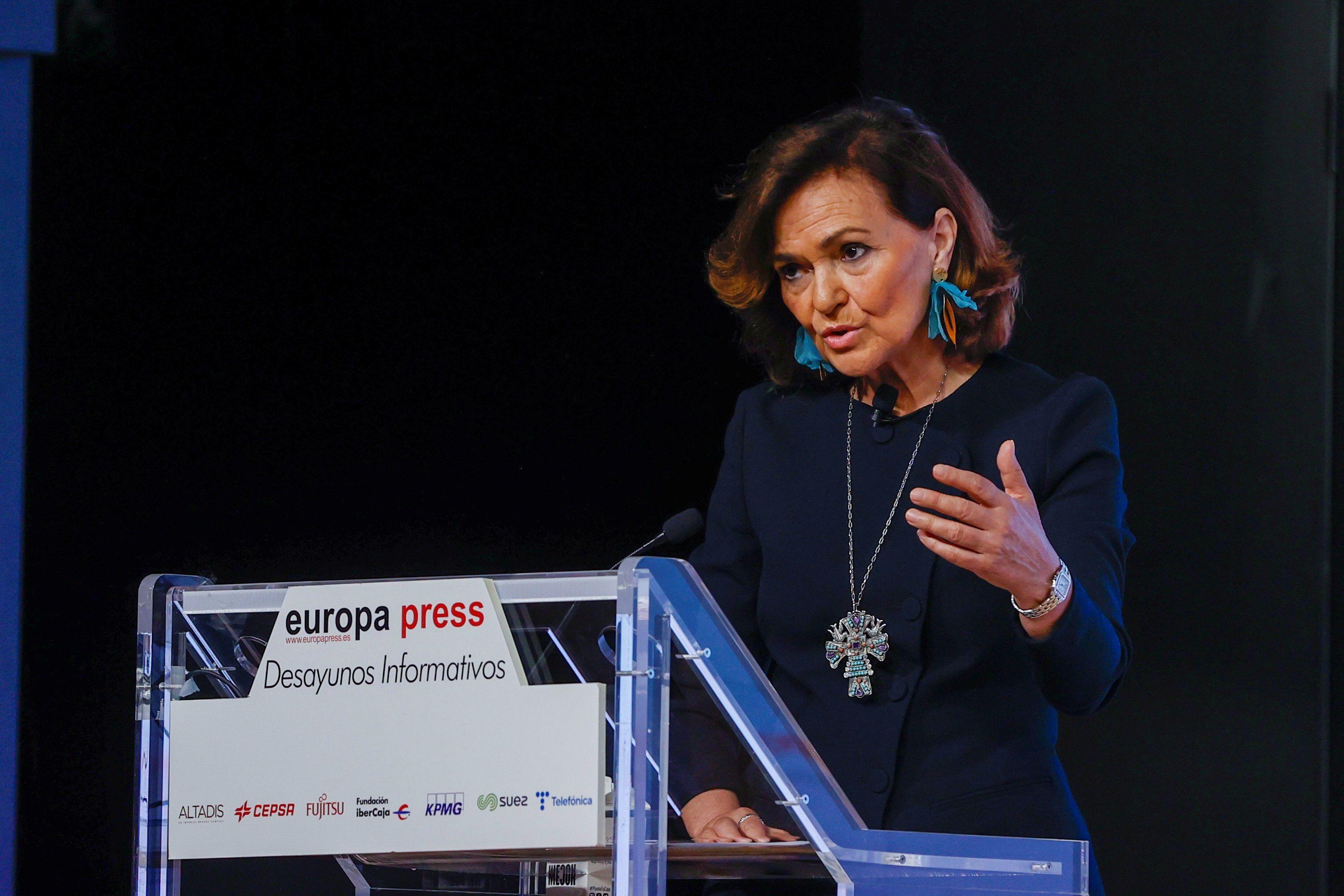 Carmen Calvo, dans un acte, à Madrid.