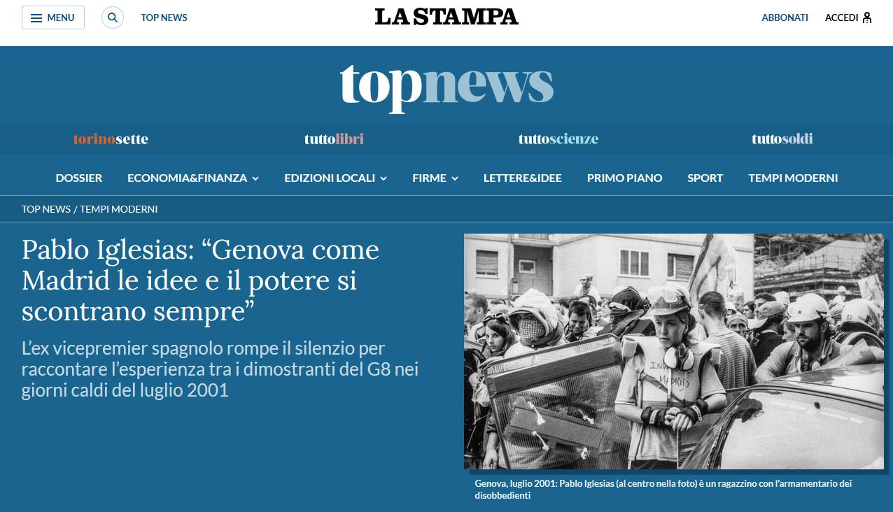 L'interview de Pablo Iglesias publiée aujourd'hui par le journal italien La Stampa.