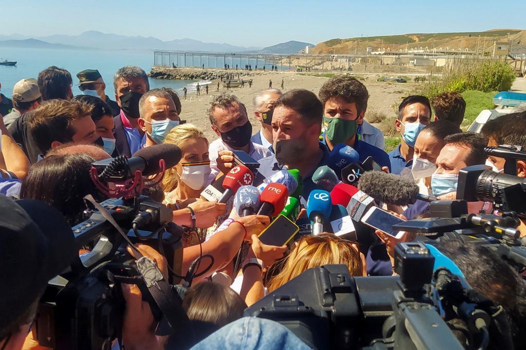 Santiago Abascal, en mai, lors de sa visite à Ceuta.