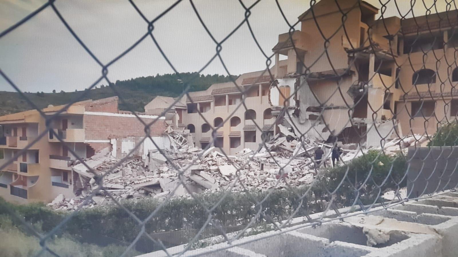 Une partie du bâtiment qui s'est effondrée.