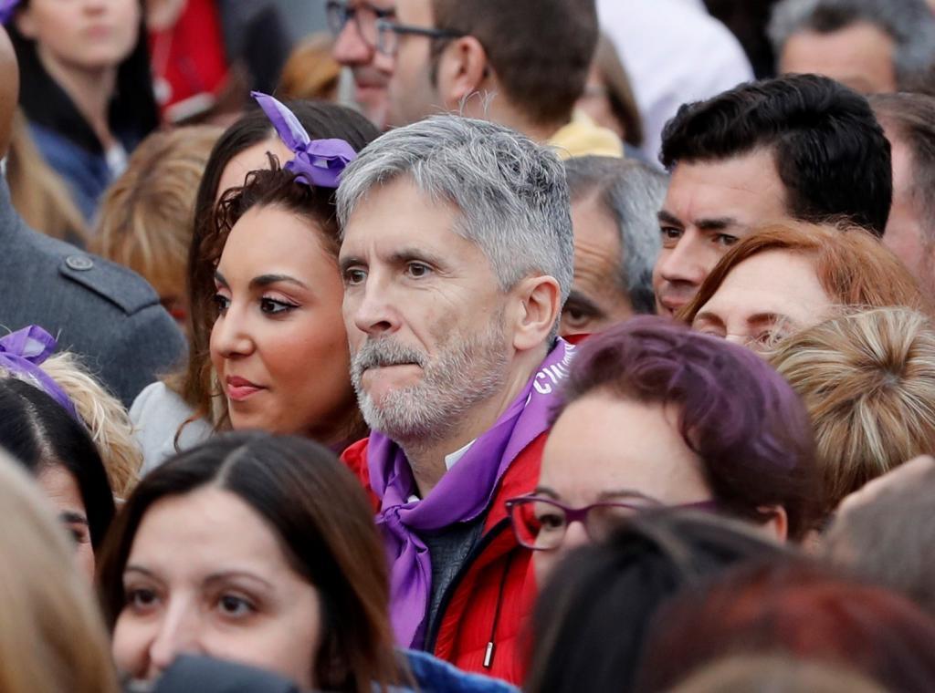 Le ministre de l'Intérieur, Fernando Grande-Marlaska, lors de la manifestation