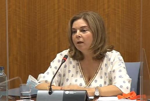 Carmen Ibanco, épouse de Juan Espadas, ce vendredi au Parlement andalou.