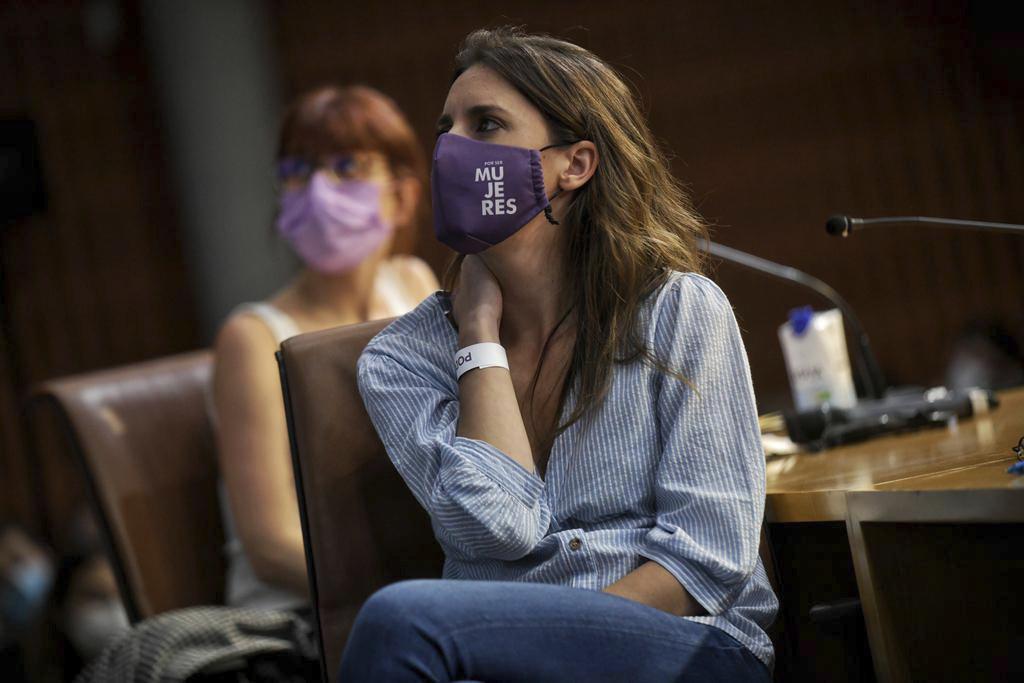 La ministre de l'Égalité, Irene Montero, dans un acte de Podemos.